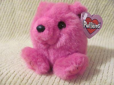 Swibco PUFFKINS Plush ROSIE Teddy Bear Hot Pink #6672 DOB 3-21-98 Bean Bag