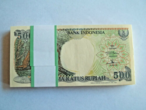 INDONESIA,500 RUPIAH,BUNDLE OF 100 CRISP UNCIRCULATED NOTES,1997,P128F