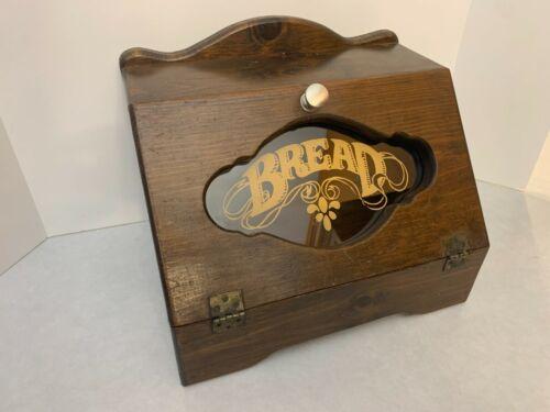 "Vintage Wood Bread Box - Glass Insert - Dark Wood Color - 15"" x 11"" x 11"""