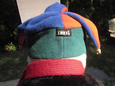 IBEX FLEECE HARLEQUIN HAT with JINGLE BELLS No Size Fits Adult Small or Youth
