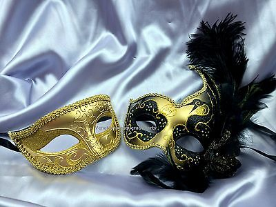 Masquerade Dresses And Mask (Couple Gold Masquerade mask for man and woman holiday Costume Dress up)
