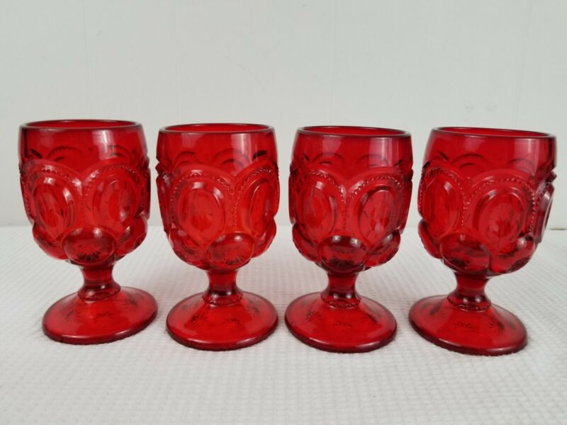 "Red Moon And Stars Goblets 5.75"" Tall L.E. Smith"