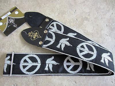 D'Andrea ACE VINTAGE REISSUE Guitar Strap PEACE DOVE BLACK Woven Neil Young