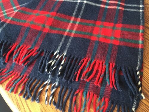 Chase Wool Sleigh Stadium Lap Throw Blanket Blue & Red Tartan Plaid Carriage