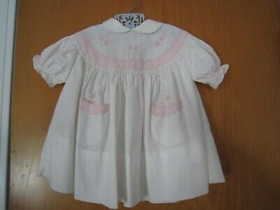 Vintage BABY 6-9 Month White & Pink Embroidered SMOCKED DRESS Gimbels ~ Italy