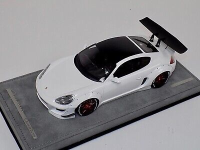 1/18 AB Models Porsche Cayman Rocket Bunny White No Decals Alcantara Red Wheels for sale  Shipping to India