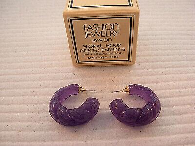 Avon FLORAL HOOP Pierced Earrings 1982 NIB NOS Amethyst BOOK PIECE Avon Amethyst Earrings