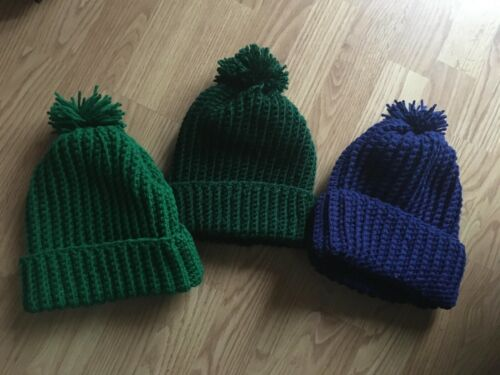 """Crocheted Hats with PomPom Nesmith Monkees Green """"Wool"""" Hat other colors avail"""
