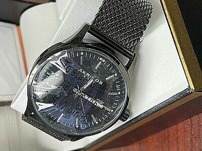 Akribos XXIV AK901BK Date Display Quartz Mesh Bracelet Black Mens Watch