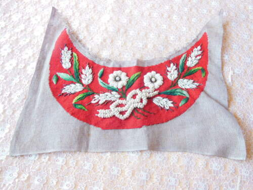 Antique/Victorian Hand-Embroidered and Beadwork Panel