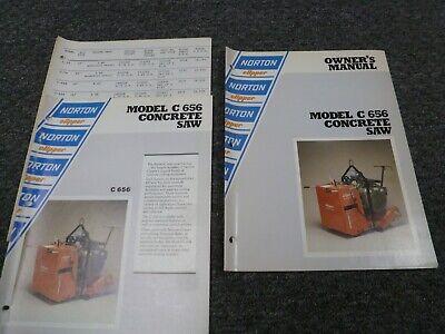 Norton Clipper C656 Concrete Saw Owner Operator Maintenance Manual Set