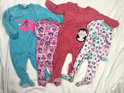 Carters Fleece Blanket Sleeper Pajamas Lot Baby Girls 12-18M TCP Cotton Stretch Fleece Blanket Sleeper Pajamas