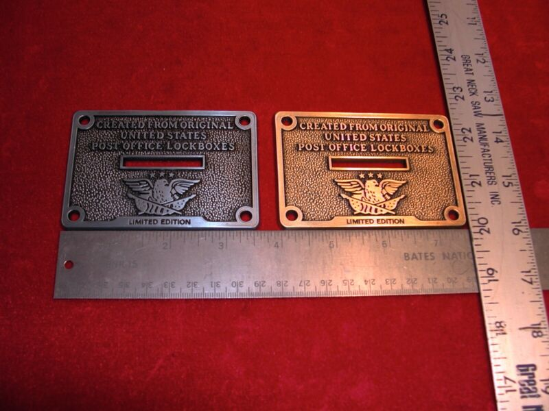 1 Post Office Door Bank Slotted Coin Plaque.  Choose brass and/or silver.