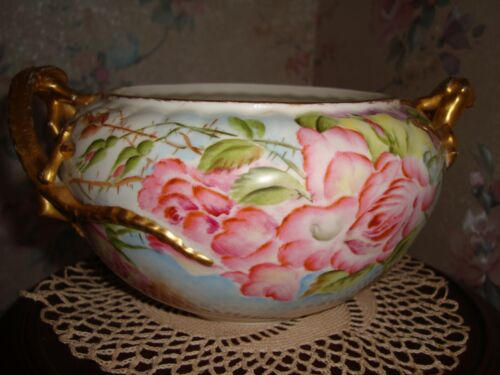 ANTIQUE BELLEEK WILLETS DRAGON HANDLES BOWL, JARDINIERE, HAND PAINTED ROSES, 9""