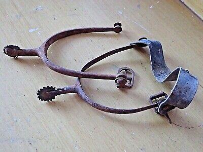 Antique SPURS Iron Copper Pair Italian Equestrian