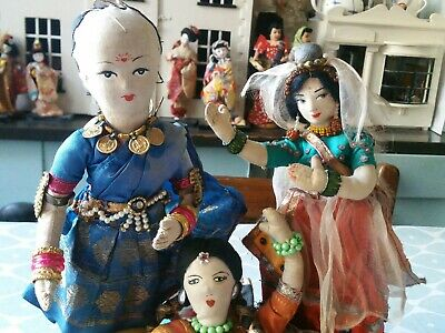 3 vintage  oriental cloth costume dolls -probably Indian in origin