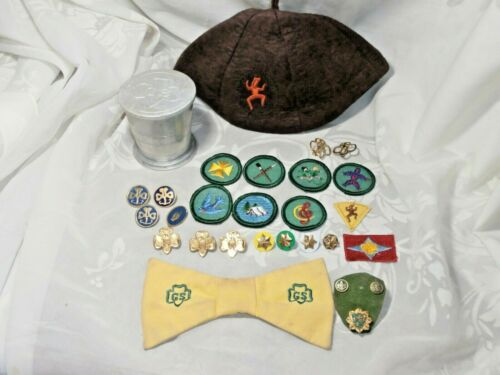 LOT OF VINTAGE GIRL SCOUT BROWNIE FELT HAT PATCHES PINS EARRINGS COLLAPSIBLE CUP