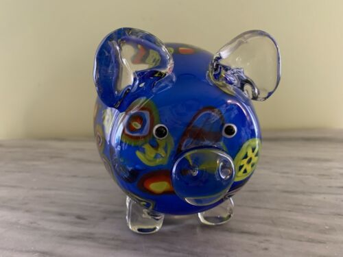 MILLEFIORE GLASS PIG FIGURE