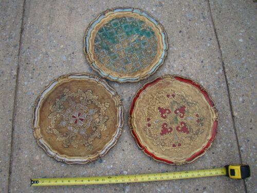 "(3) Vtg 15"" Wood Italian Florentine Tray Plates ~ Florence Italy ~ Decorative"