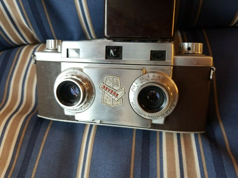 Vintage Wollensak Revere Stereo 33 35mm Lens Dual Photo camera w Leather Case