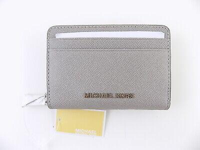 Michael Kors Money Piece Gray Leather Mini Card Case Wallet