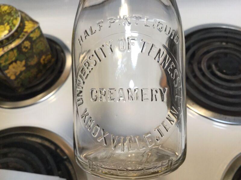1/2 Pt. University Of Tennessee Creamery Knoxville, Tenn. Milk Bottle