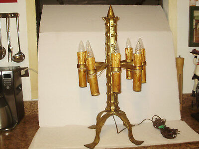 1920'S ANTIQUE FERRO SPANISH REVIVAL HEAVY IRON ELECTRIC LIGHT  CANDLE SCONES
