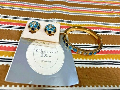 Christian Dior Bangle Bracelet & Clip-on Earring Set w/ Blue and Clear Stones