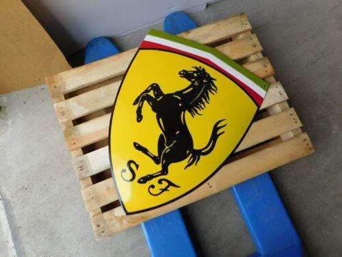 FERRARI - Garage Dealership - Porcelain Enamel Logo Sign / Shield 26.5 x 19.75