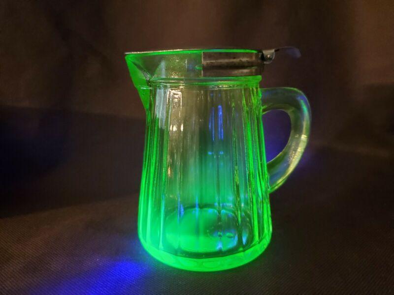 Vintage Green Depression Vaseline Glass Syrup Pitcher With Metal Spring Lid