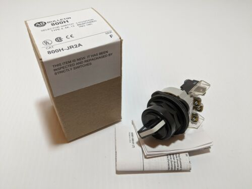 ALLEN BRADLEY 800H-JR2A SELECTOR SWITCH 3 POSITION MAINTAINED 1NO 1NC SER F NIB
