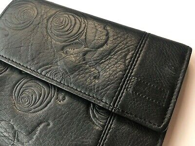GIANNI VERSACE VINTAGE '89 ROSES EMBOSSED LEATHER WALLET TRIFOLD PURSE FLOWERS