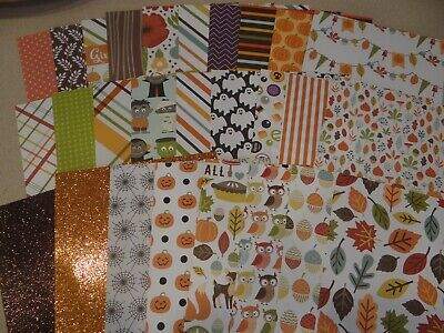 HALLOWEEN FALL 6X6 PATTERNED PAPER SCRAPBOOK CARDS WOODLAND ANIMALS PAPER CRAFTS - Halloween Card Animated