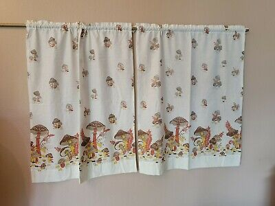 Vintage Mushroom Curtain Panels, set of 2, no tags, AS IS, some discoloration