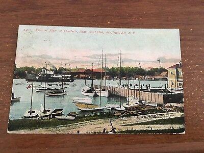View of river at Charlotte near yacht club Rochester NY sail boats sailing 1913