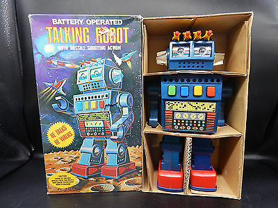"Kingsway vintage TALKING ROBOT toy 11"" plastic battery operated w/ original BOX"