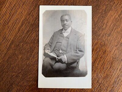 RPPC handsome African American business man suit New York Black Americana Mack J