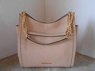 New MICHAEL KORS Newbury Medium Chain Shoulder Bag LEATHER $328 OYSTER