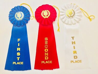 11 inch Rosette Style Award Ribbons, 2 each of the 1st 2nd and 3rd place ribbon