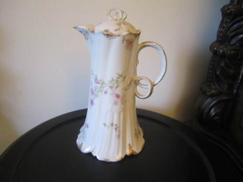CH Field Haviland Limoges CFH/GDM  RARE PINK FLORAL Chocolate Pot