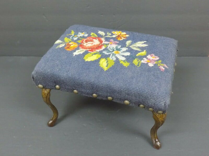 Small Old Iron Legged Foot Stool  *