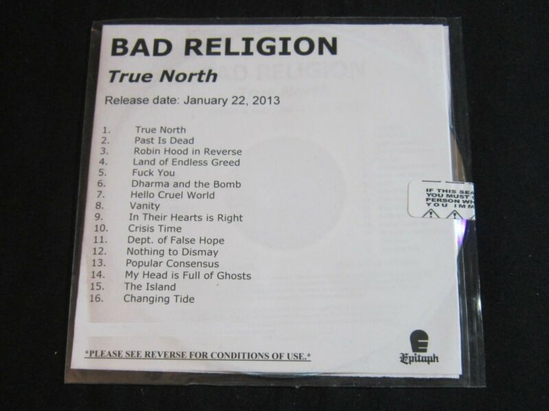 BAD RELIGION 'TRUE NORTH' 2013 PROMO CD—SEALED