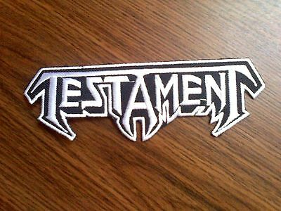 TESTAMENT,IRON ON WHITE EMBROIDERED PATCH
