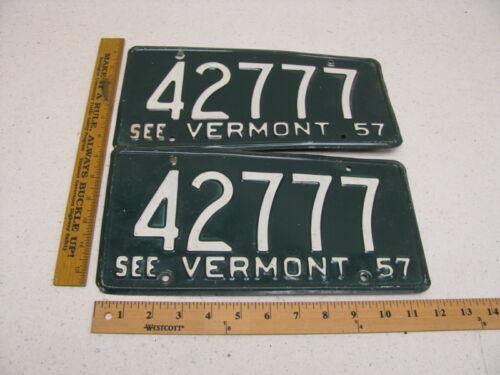1957 57 Vermont VT License Plate PAIR SET #42777