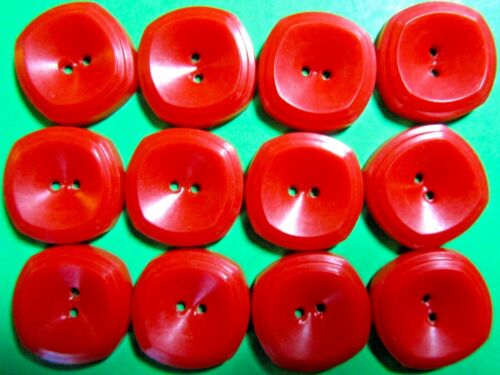 "(12)  VINTAGE 3/4"" RED PLASTIC 2-HOLE COLT #8 HOUSE DRESS BUTTONS (X299)"