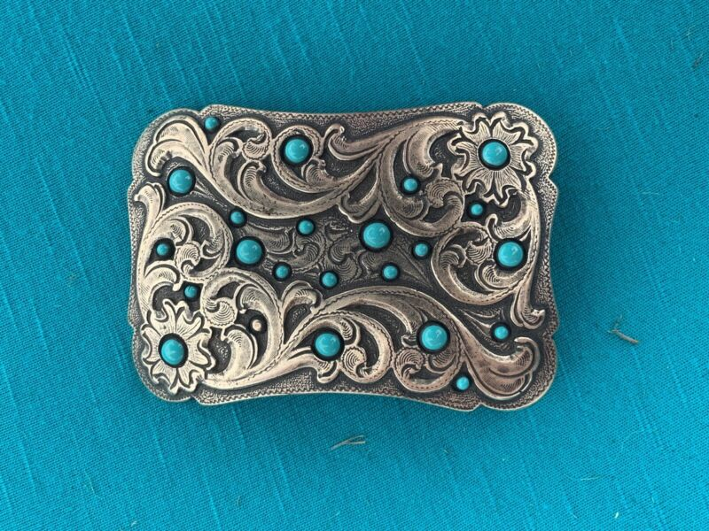 Vintage Western Belt Buckle, Accented with Faux Turquoise Spots