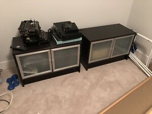 Ikea cherry consoles with frosted glass