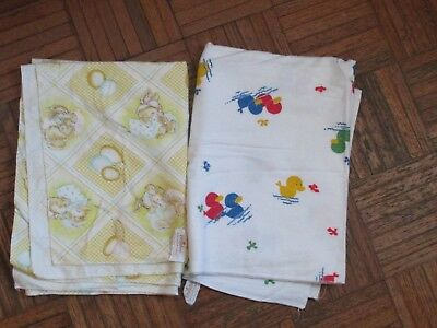 Dundee Baby Receiving Blankets Flannel Lot of 2 Vintage Bunnies Balloons Duck
