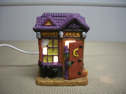 Greenbrier Lighted Porcelain Halloween Village House Witches Brew Pub