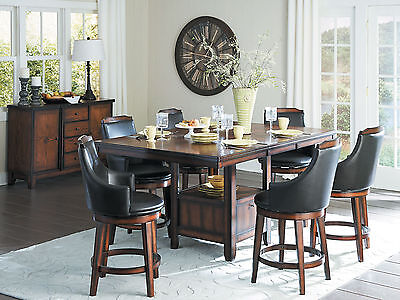 Cottage Brown 7pcs Dining Room Rectangular Counter Height Table Chairs Set IC62 ()